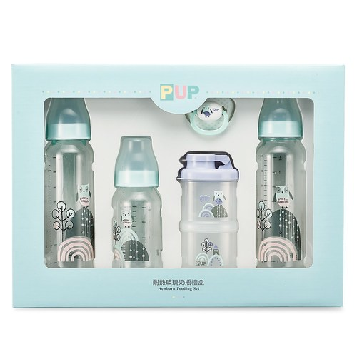 【標準口徑】耐熱硼矽玻璃奶瓶禮盒-貓頭鷹