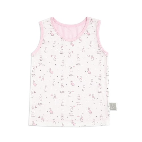 粉色愛心兔背心(護膚天絲洞洞提花布)