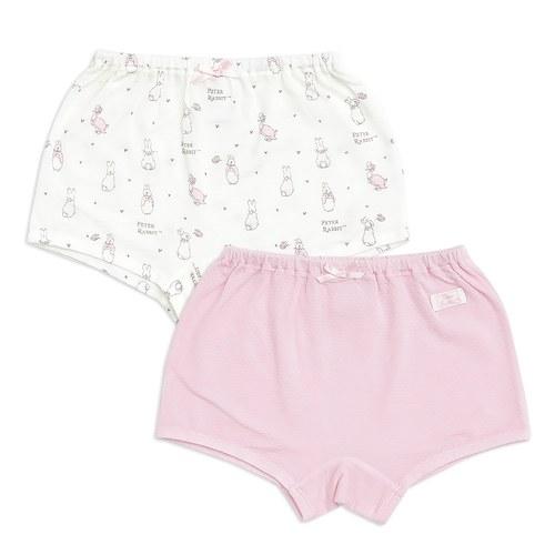 粉色愛心兔女平口褲-2入(護膚天絲洞洞提花布)