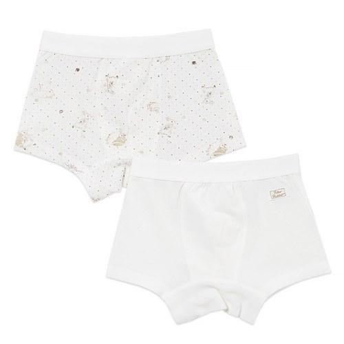 松果兔男平口褲-2入(羊毛保暖布)