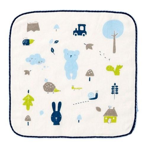 彩繪熊紗布毛巾(方巾)