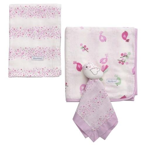 純棉紗布被禮盒-小鳥