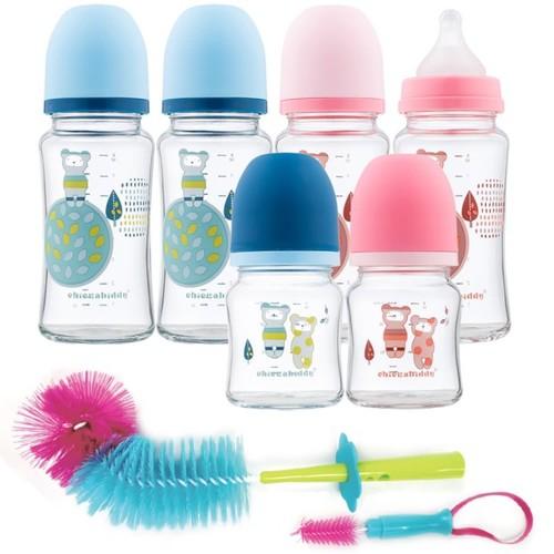 【特惠組】親乳實感防脹氣玻璃奶瓶-寬口4大+2小