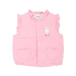 粉色花園舖棉背心-雙面穿