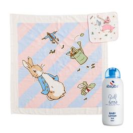 《超值限搶$999》比得兔身高尺紗布浴包巾禮盒+嬰兒乳液