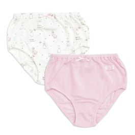 粉色愛心兔女三角褲-2入(護膚天絲洞洞提花布)