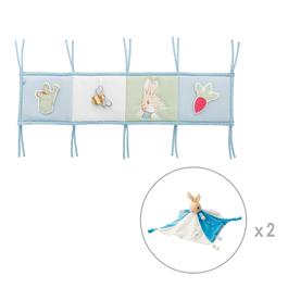 《超值組1+2》比得兔多功能遊戲床圍+比得兔玩偶安撫巾(2個)