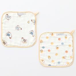 快樂小雞竹纖維紗布方巾2入