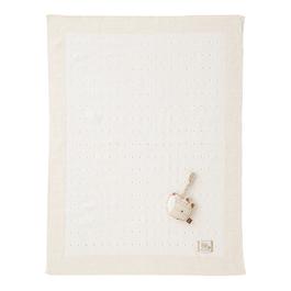 有機棉針織棉毯禮盒-洞洞厚款(毯子+安撫玩偶)