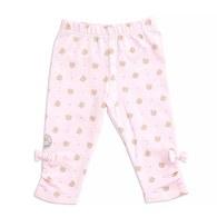 粉色小熊印花九分合身褲