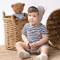 BON熊造型短袖兔裝-附雙面領巾