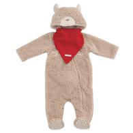 毛絨造型長袖兔裝-附雙面領巾