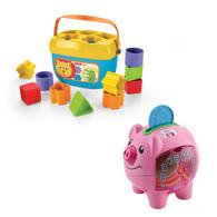 【費雪組合】費雪寶寶積木盒+智慧學習小豬撲滿