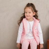 粉紅聖誕舖棉背心外套-雙面穿