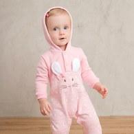 粉紅聖誕印花連帽兔裝