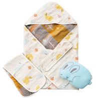 快樂森林六層紗包巾禮盒(含包巾、小肚圍、小兔枕)