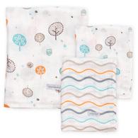 竹纖維紗布包巾禮盒(大包巾x1+大方巾x2)