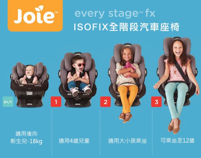 prevnext Joie every stage fx ISOFIX 0-12歲全階段汽座